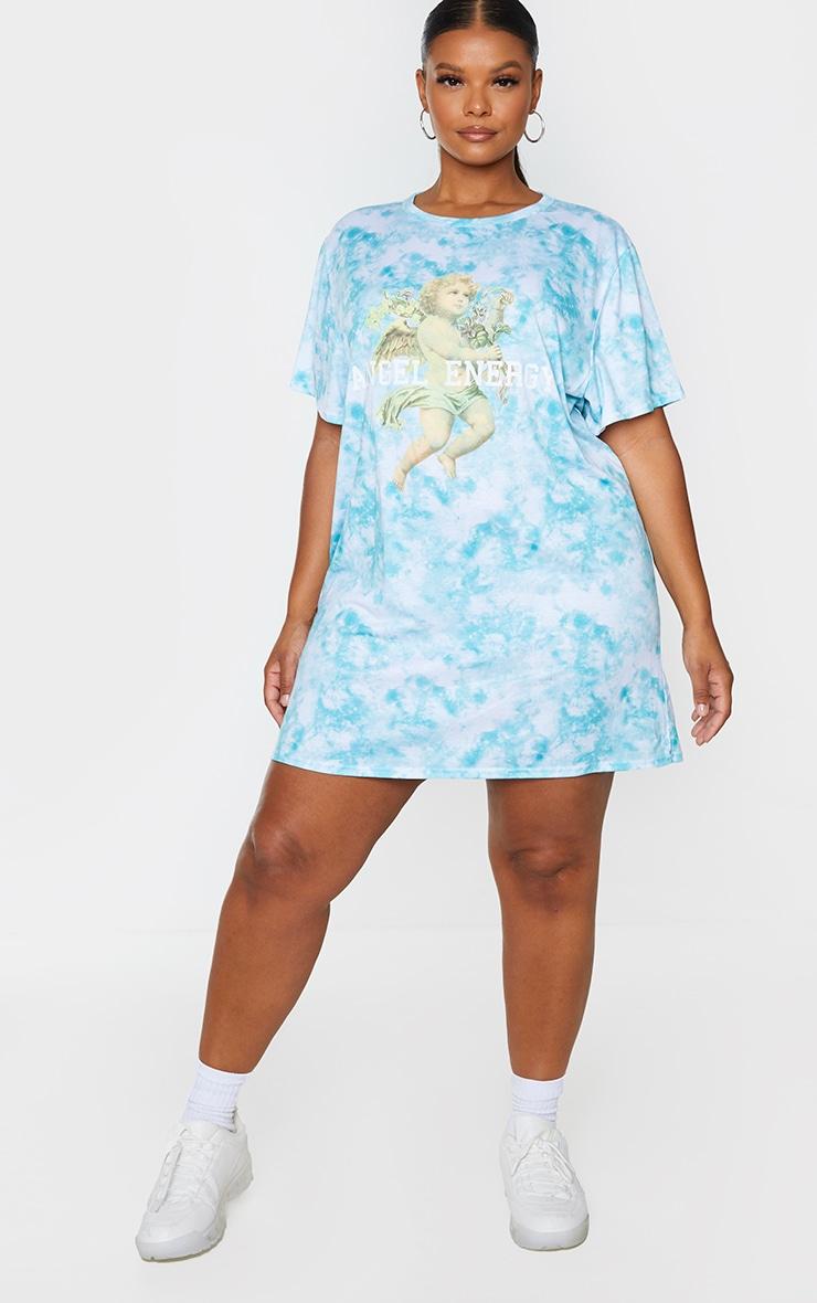 Plus Dusty Blue Tie Dye Angel Energy T Shirt Dress 3