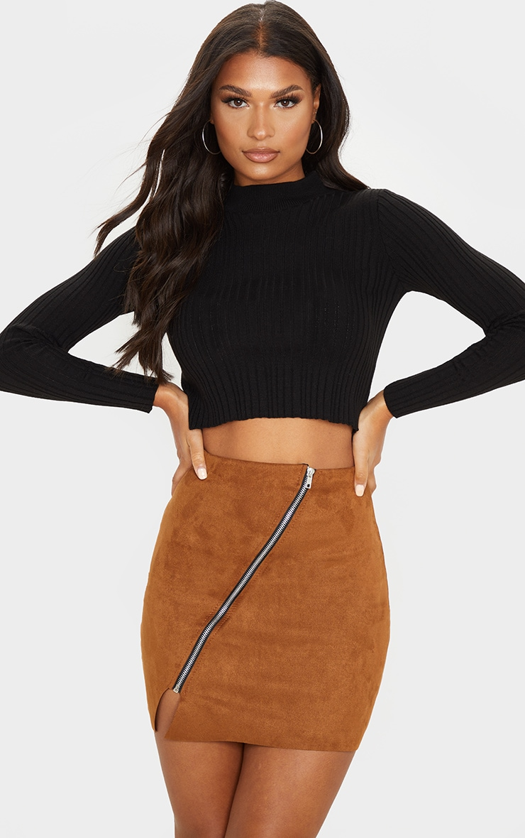 Brown Faux Suede Zip Detail A Line Skirt 1