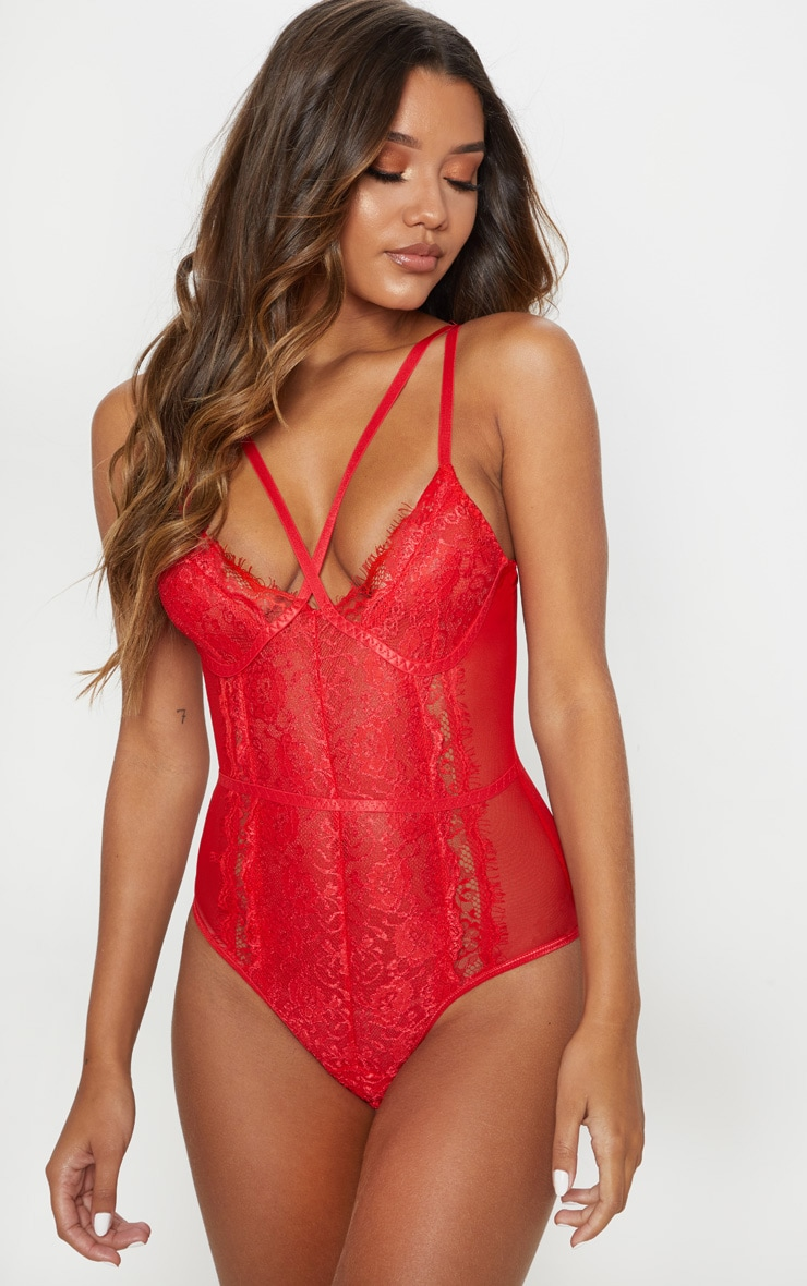 Red Cross Front Mixed Lace Body 1