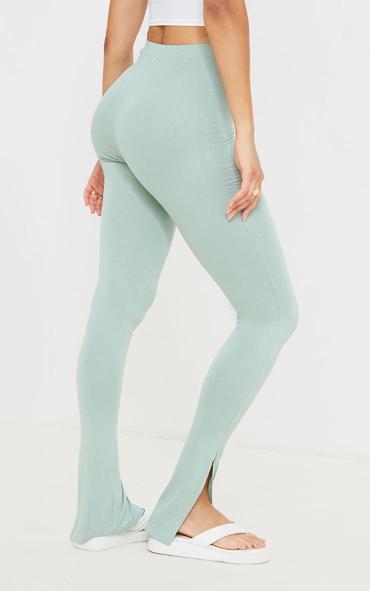 Sage Green Jersey Split Hem Leggings 3