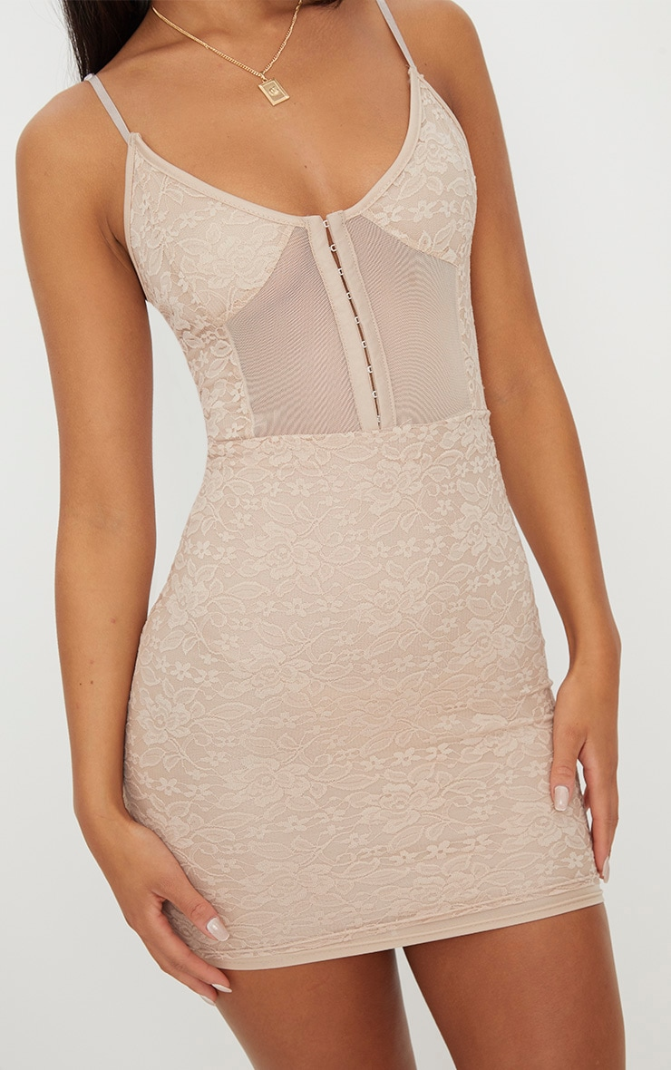 Stone Lace Panelled Hook And Eye Detail Bodycon Dress 5