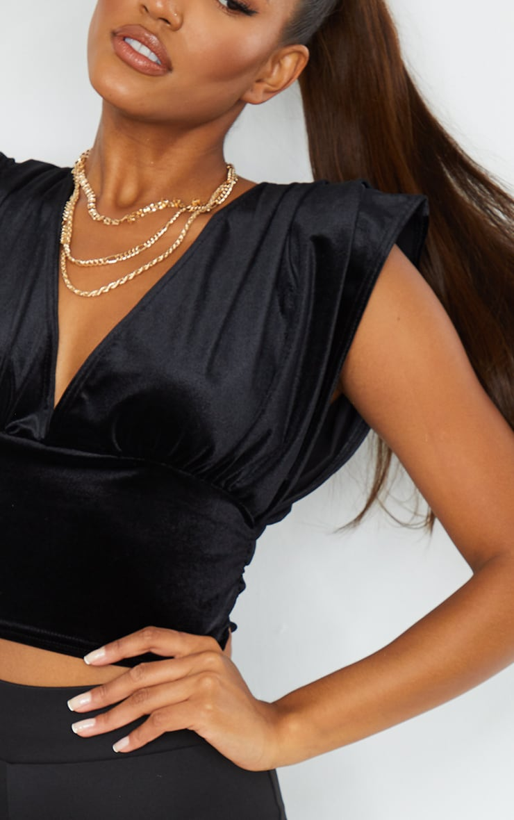 Black Velvet Draped Plunge Crop Top 4