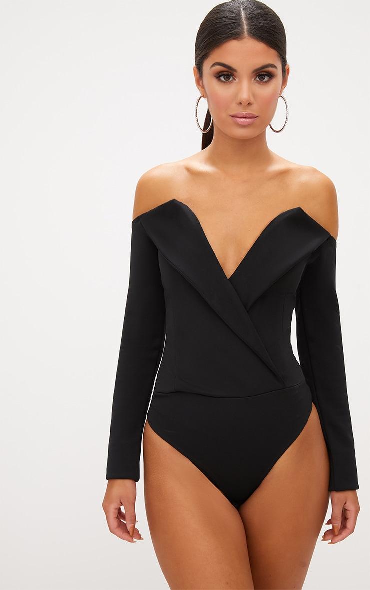 Black Tux Blazer Detail Bardot Bodysuit  2