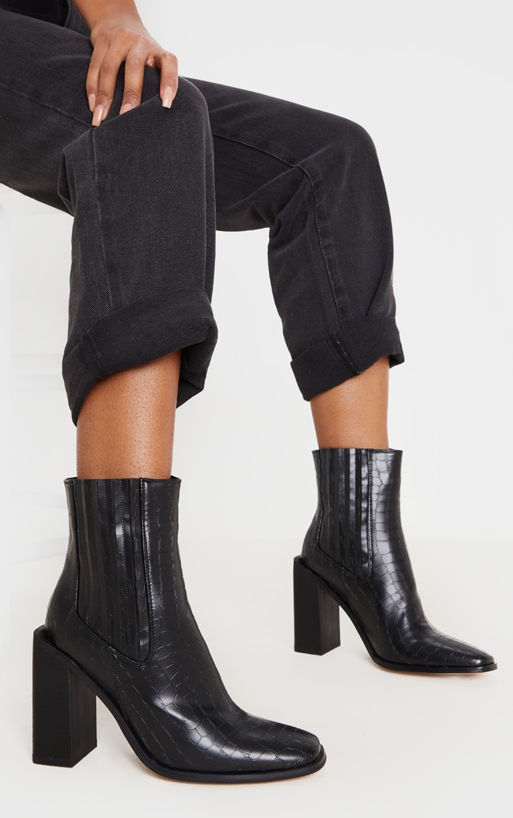 Black Snake Block Heel Square Toe Western Boot 2