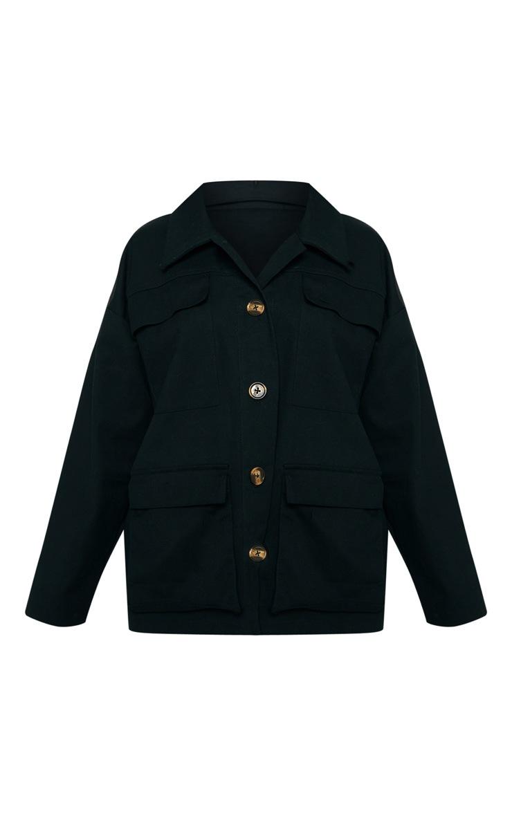 Black Woven Utility Jacket  3