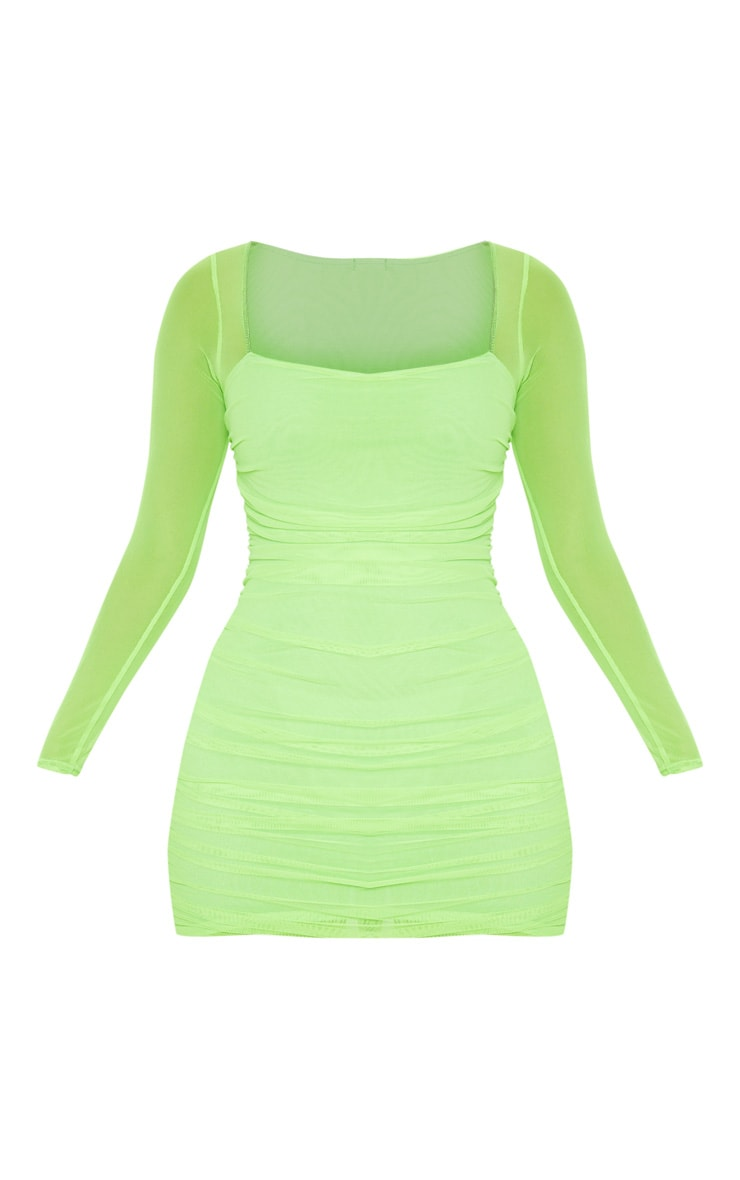 Neon Lime Mesh Square Neck Ruched Bodycon Dress 3