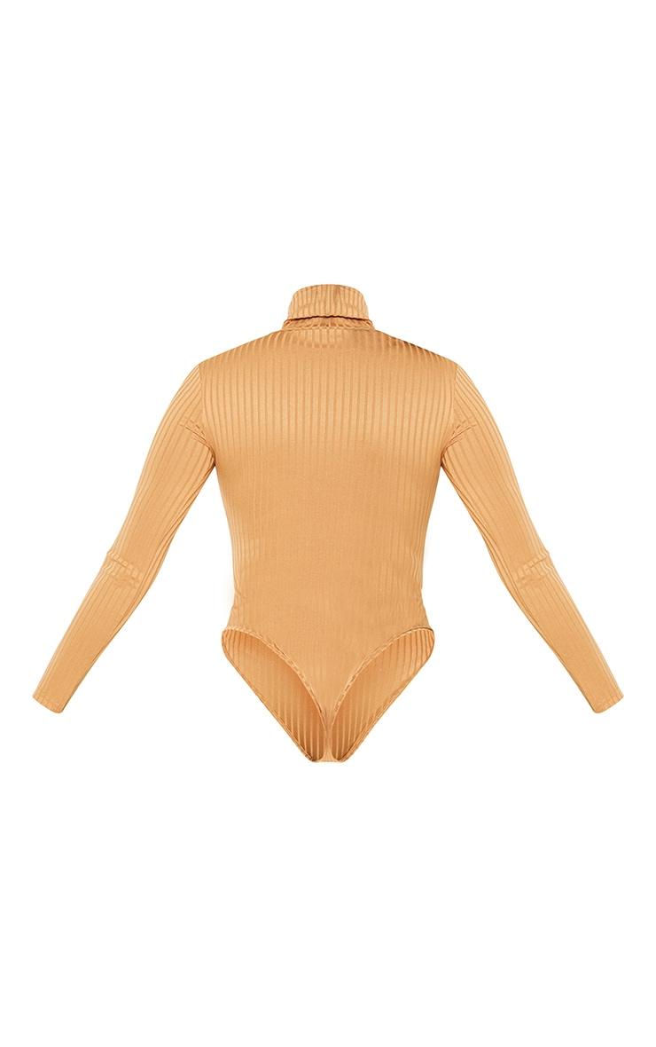 Petite Camel Rib Roll Neck Long Sleeve Bodysuit 4