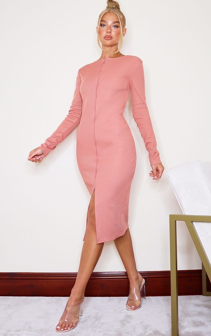 Robe mi-longue très côtelée rose à double zip 3