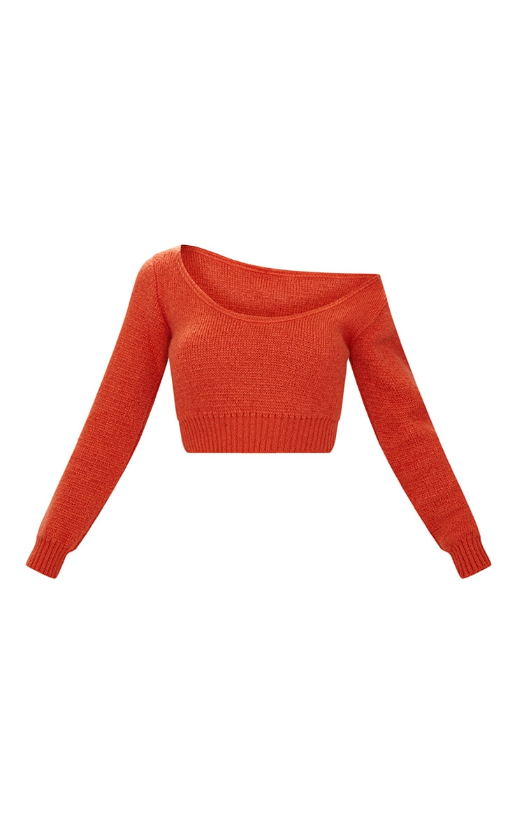 Orange V Neck Off Shoulder Soft Knitted Crop Jumper 3