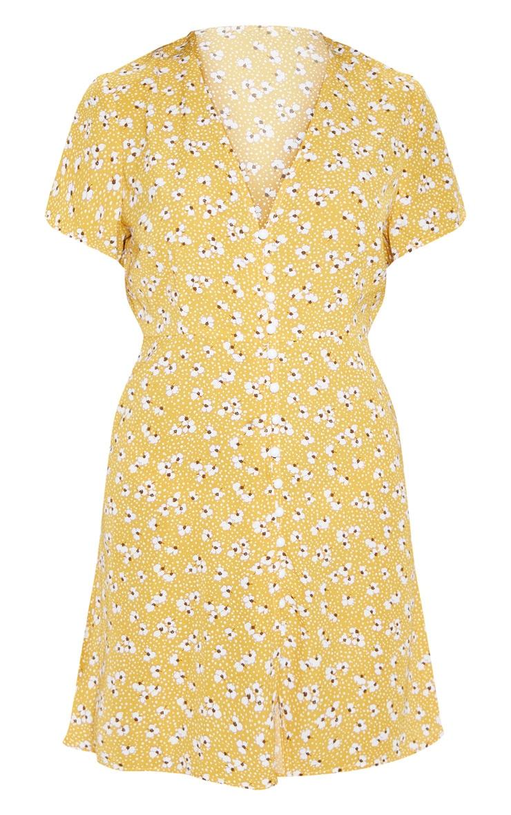 Mustard Ditsy Floral Button Through Tea Dress 3