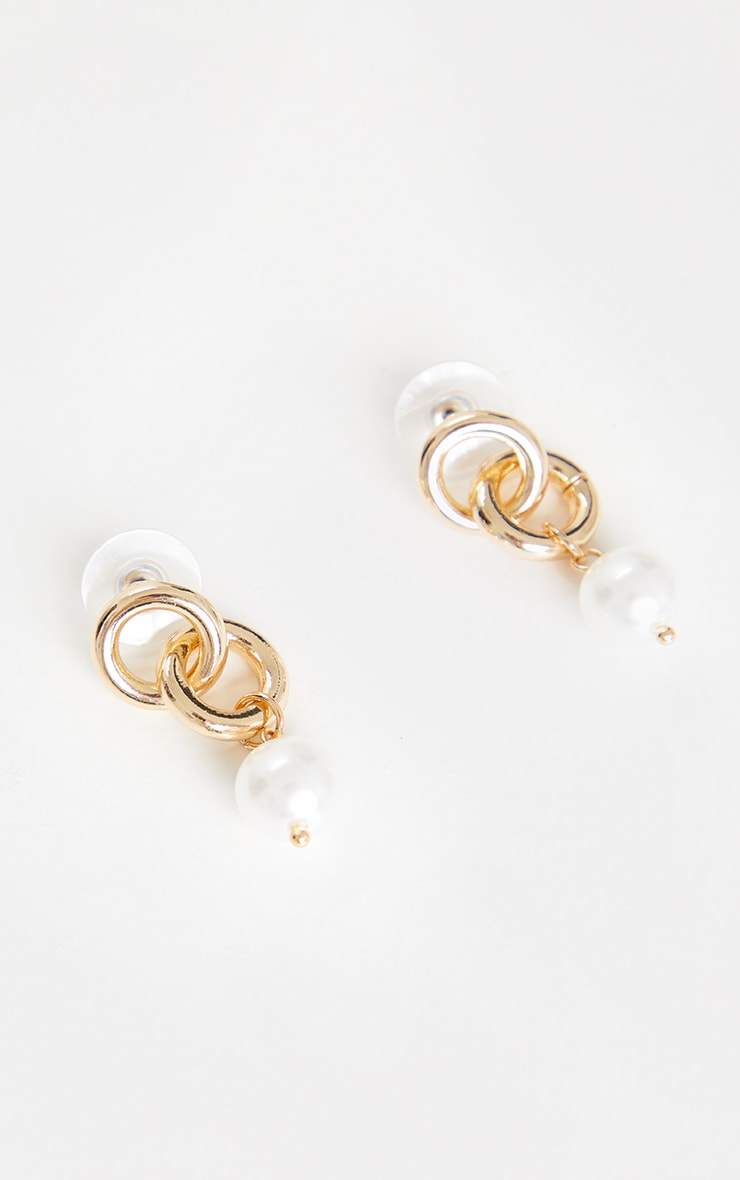 Gold Double Hoop Pearl Drop Earrings 2