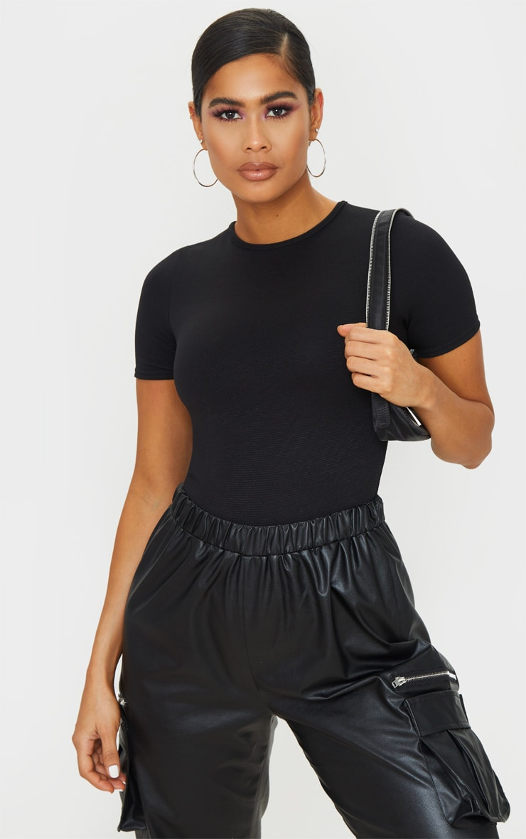 Black Rib Short Sleeve Bodysuit 1