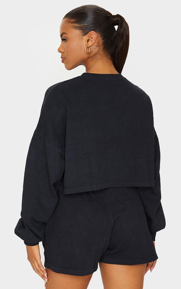 Black Washed Oversized Crop Sweater 2