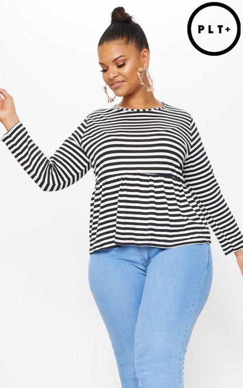 Plus Black Striped Frill Hem T Shirt 1