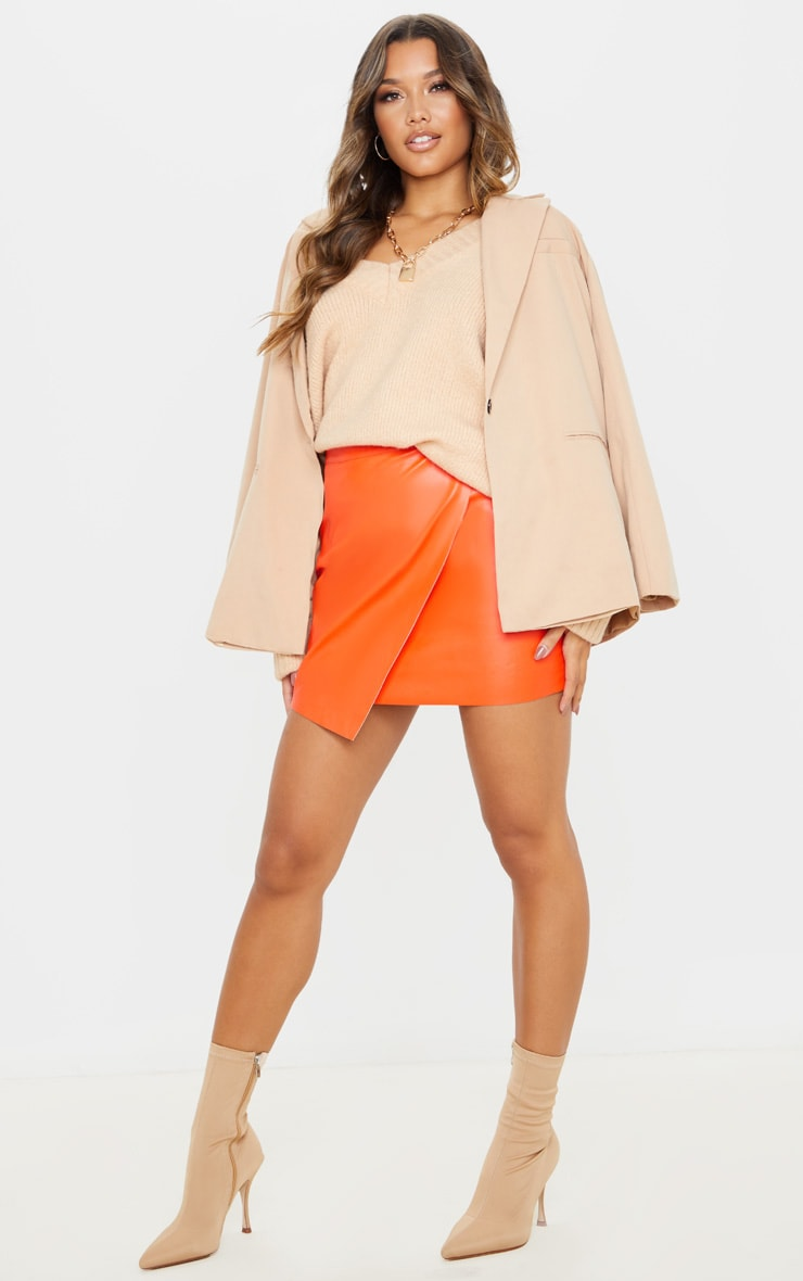 Orange Faux Leather Wrap Mini Skirt 5