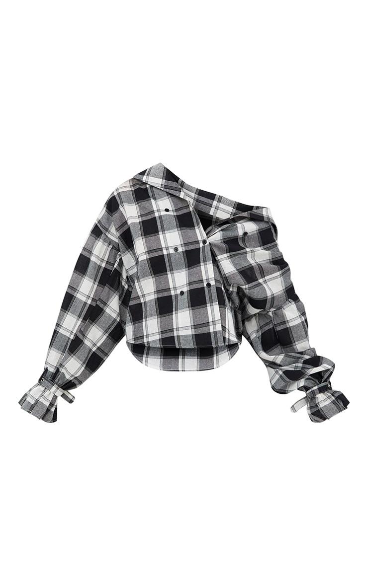 Divya Black Check Cuff Sleeve Off Shoulder Shirt 3
