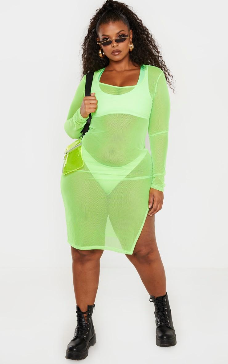 97025b63271 Plus Neon Lime Sheer Mesh Midi Dress | PrettyLittleThing