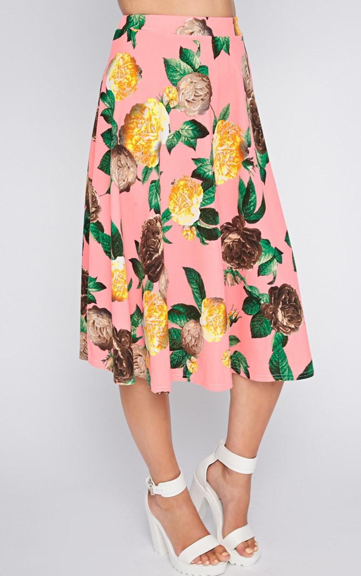 Kiera Pink Floral Print Midi Skirt 3