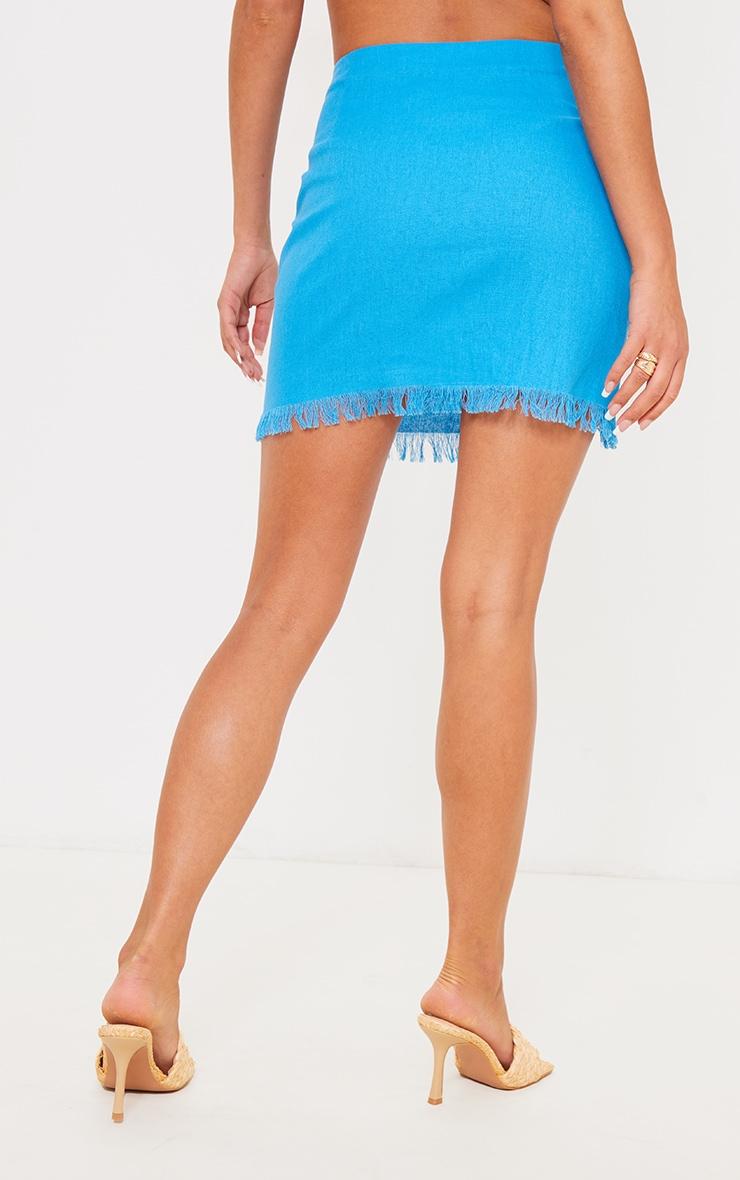 Cornflower Blue Ring Detail Mini Skirt 3