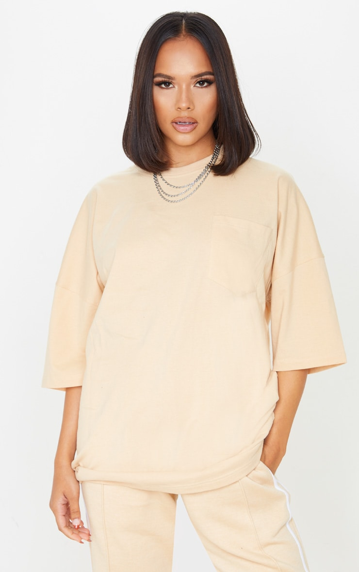 Sand Pocket Front Oversized T Shirt 1