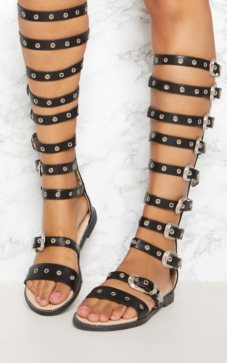Black Western Buckle Knee Gladiator Sandal 2