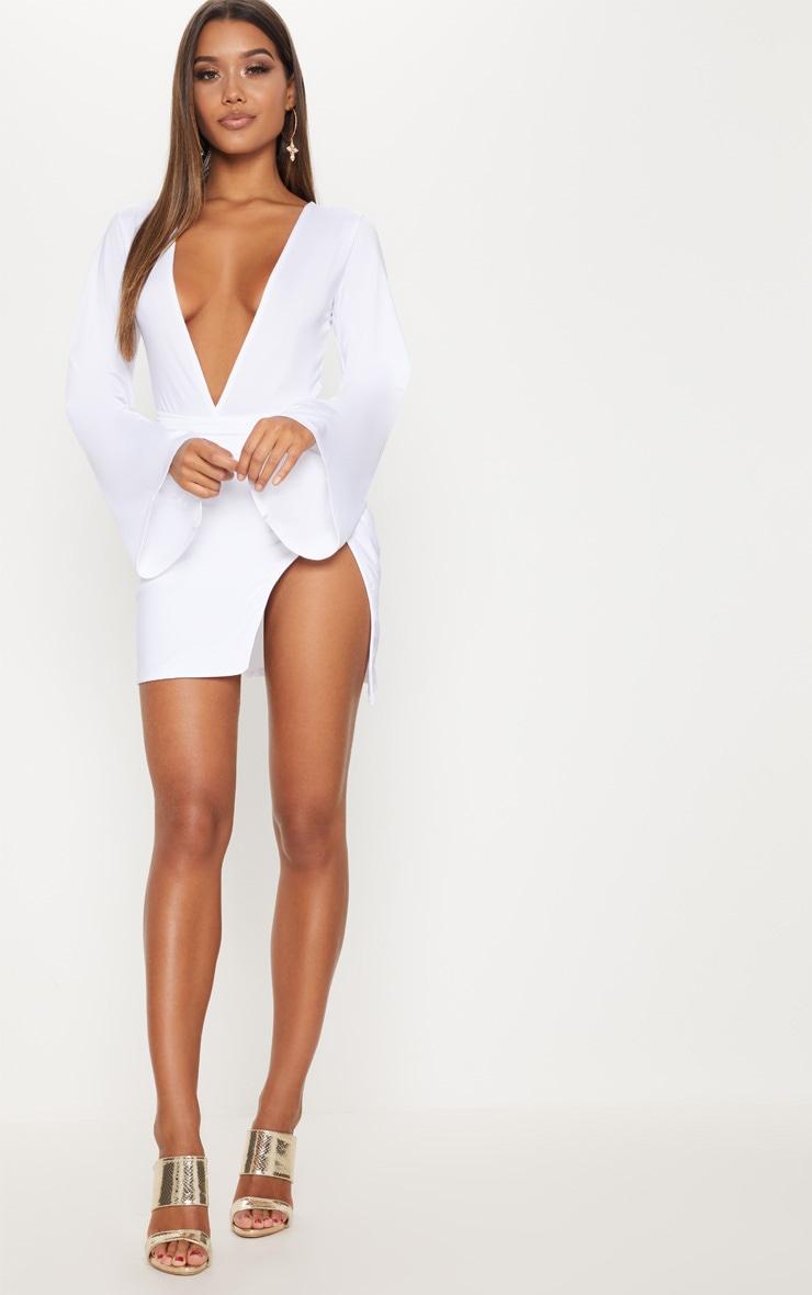 White Drape Sleeve Plunge Extreme Split Leg Bodycon Dress 4