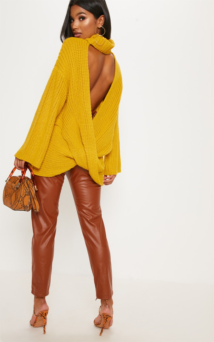 Mustard Chunky Open Knit Jumper 2