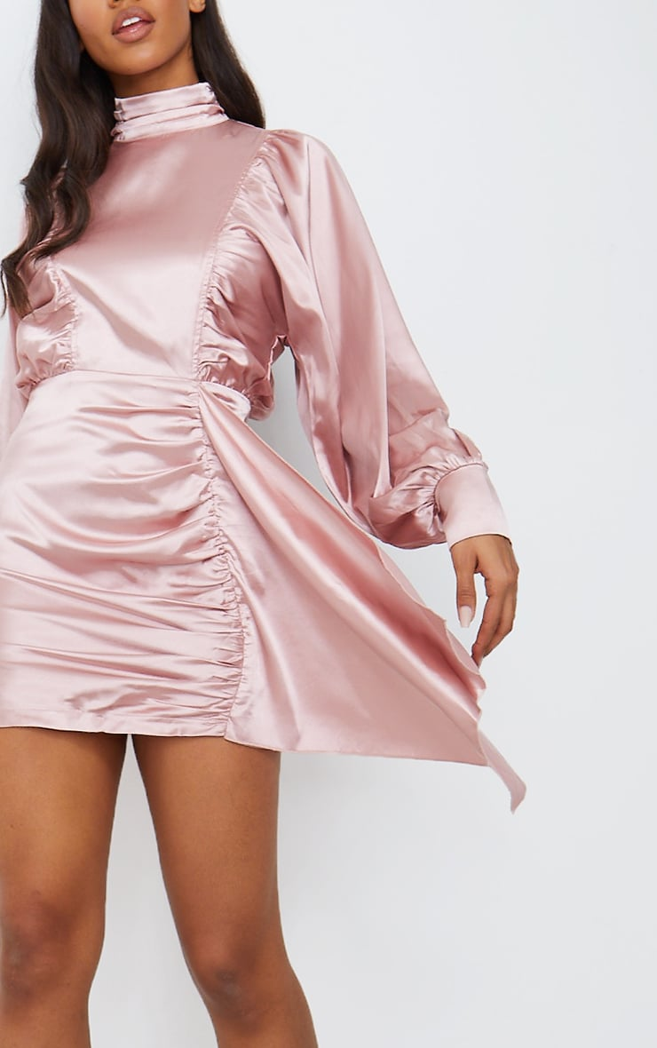 Dusty Pink Satin Balloon Sleeve Ruched Drape Bodycon Dress 4