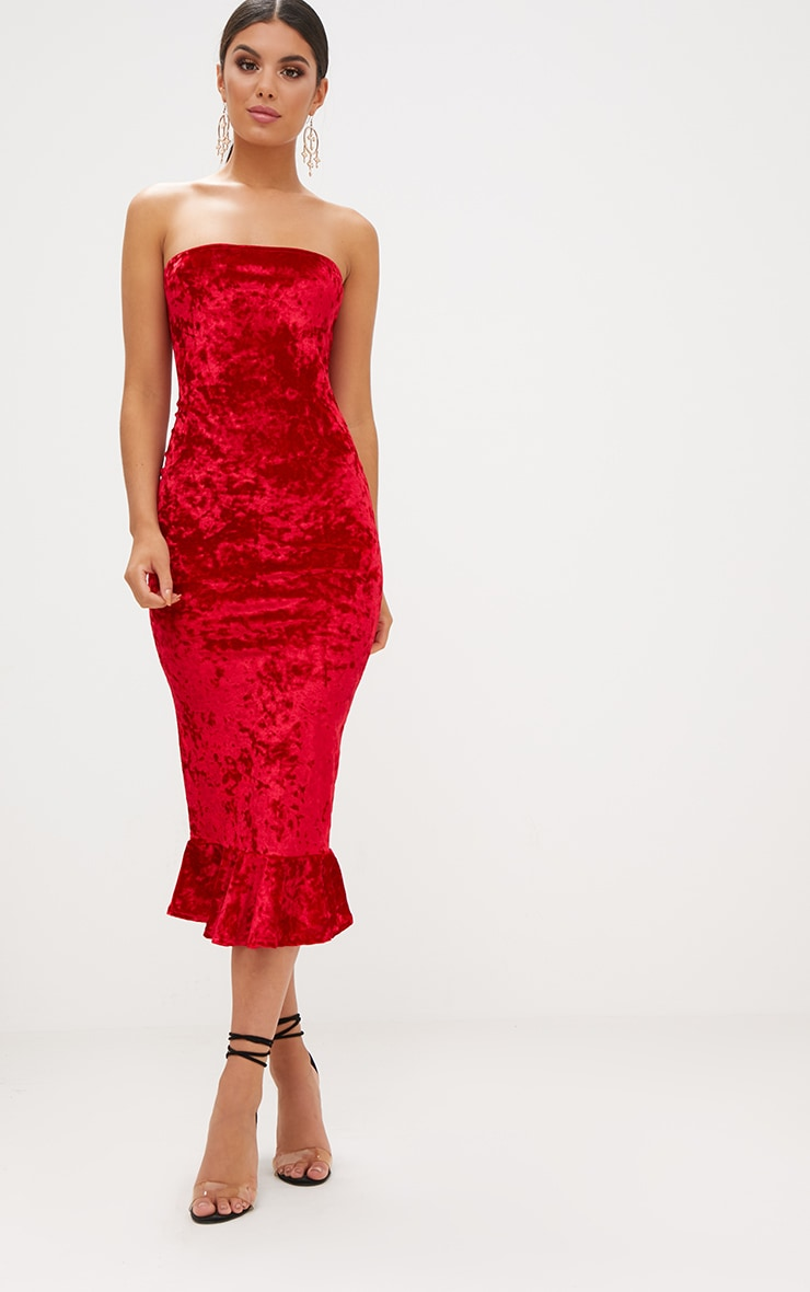 Red Velvet Frill Hem Bandeau Longline Midi Dress 1