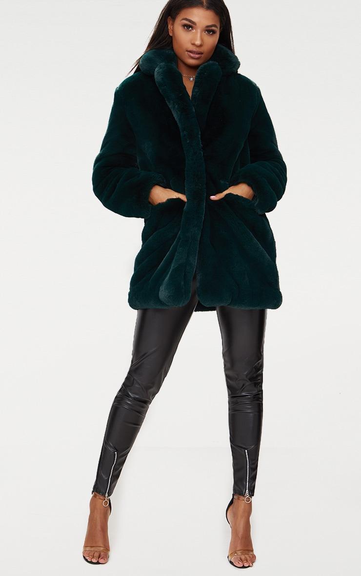 Emerald Green Premium Faux Fur Coat 4