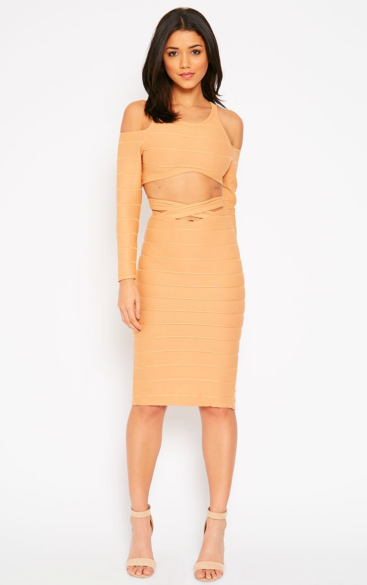 Jaimie Camel Cut Out Curved Hem Bandage Crop Top  3