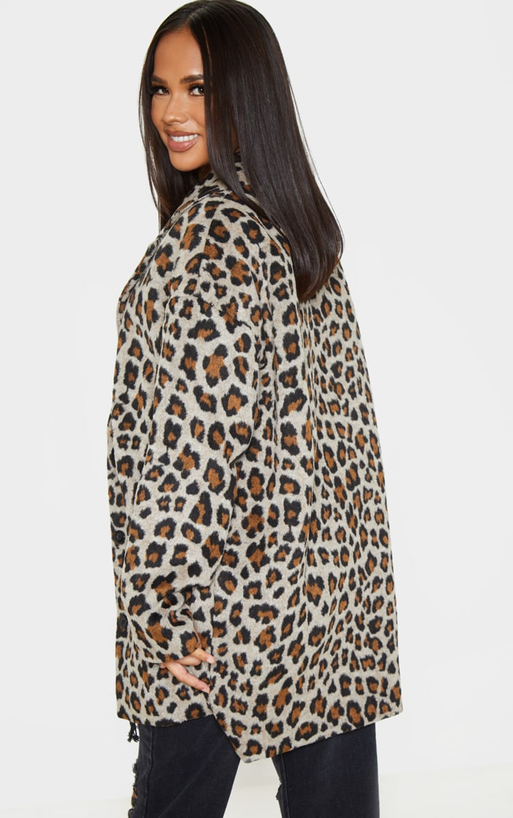 Brown Leopard Midi Coat 2