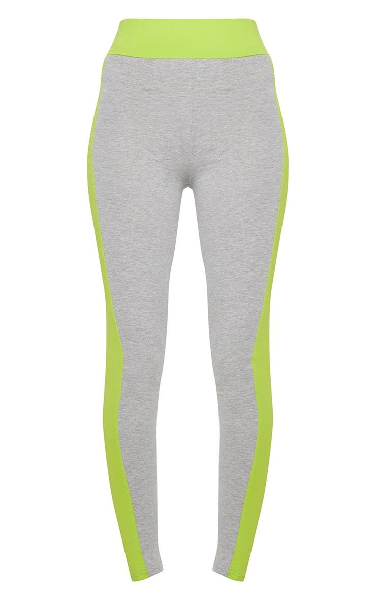 Lime Cotton Grey Contrast Sports Leggings 3