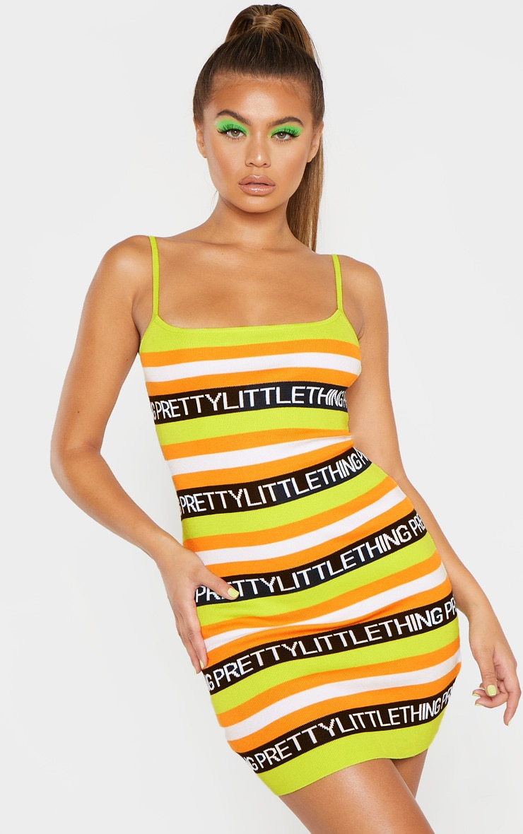 PRETTYLITTLETHING Lime Knitted Dress  1