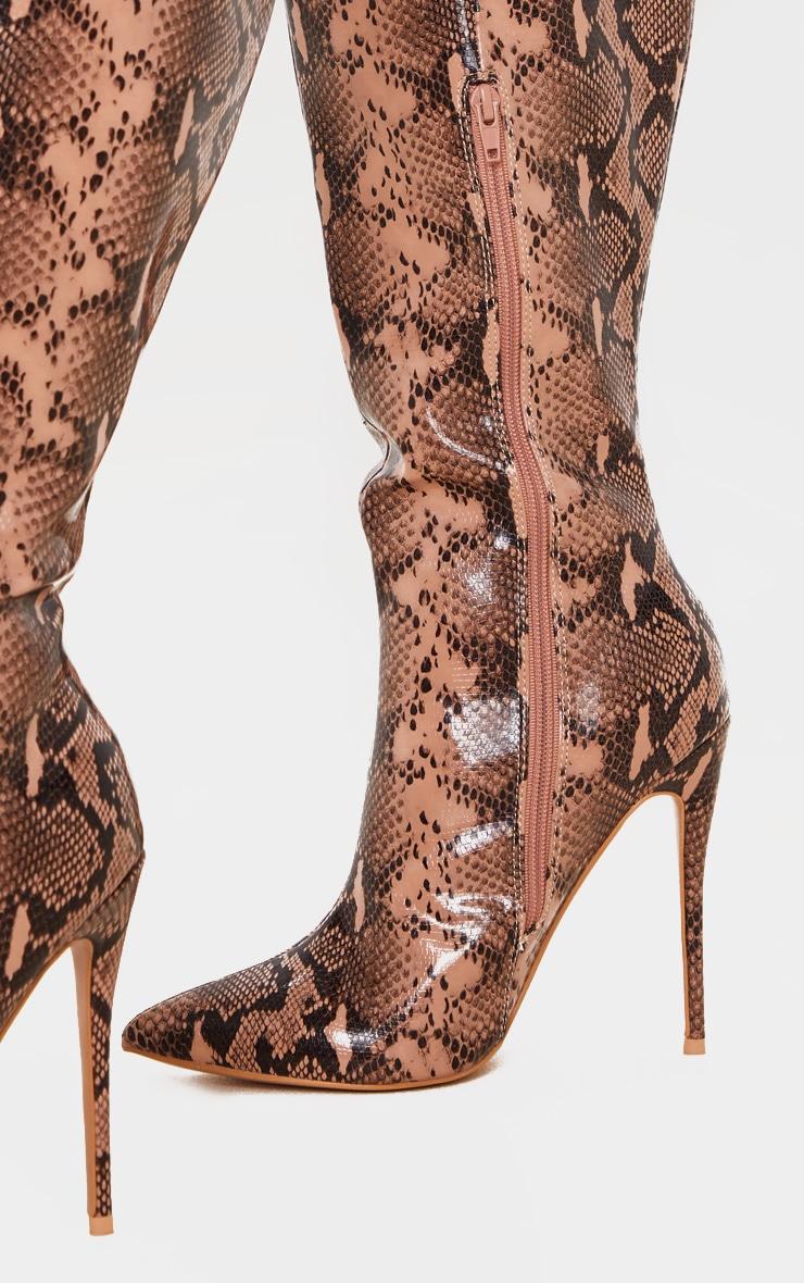 Brown Snake Point Toe Stiletto Knee High Boot 4