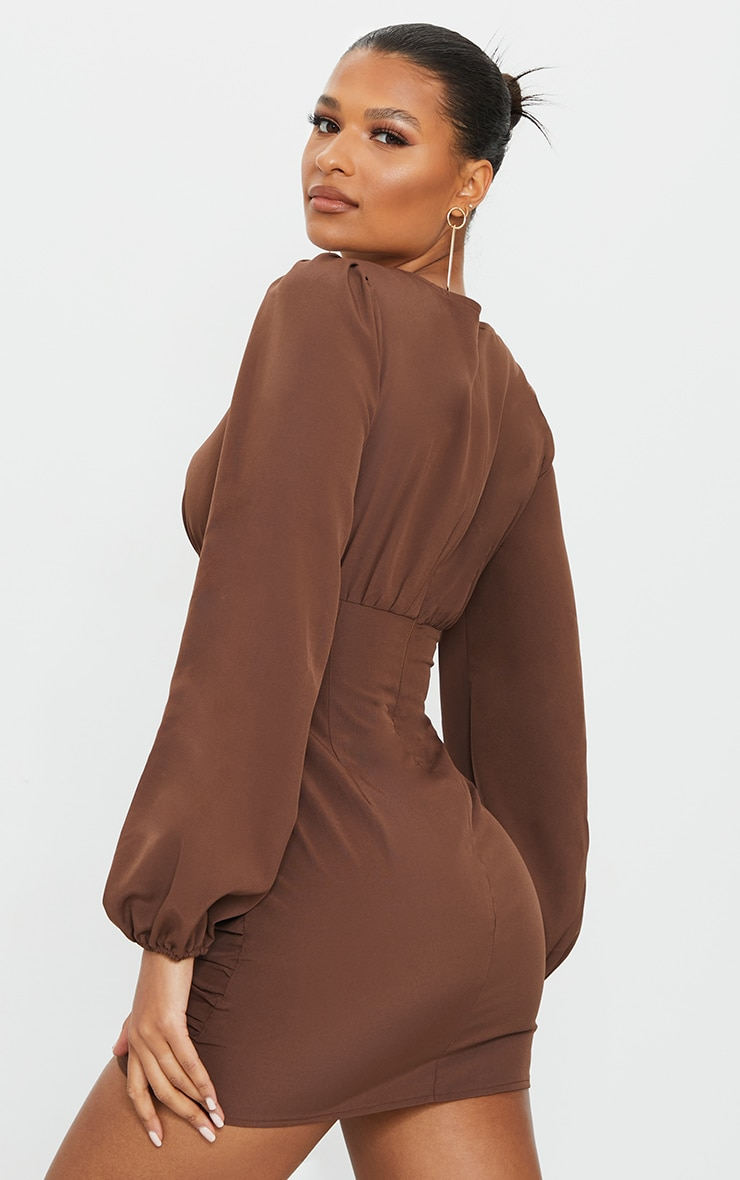 Chocolate Ruched Long Sleeve Bodycon Dress 2