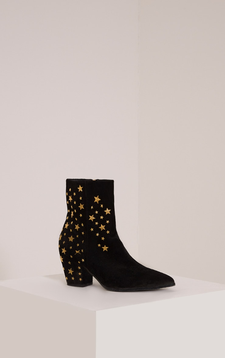 Arrabella Black Faux Suede Star Studded Ankle Boots 3