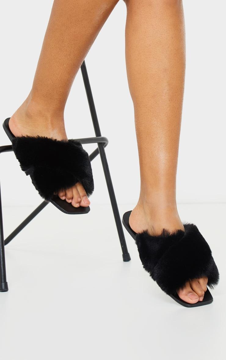 Black Cross Strap Faux Fur Mule Sandal 2