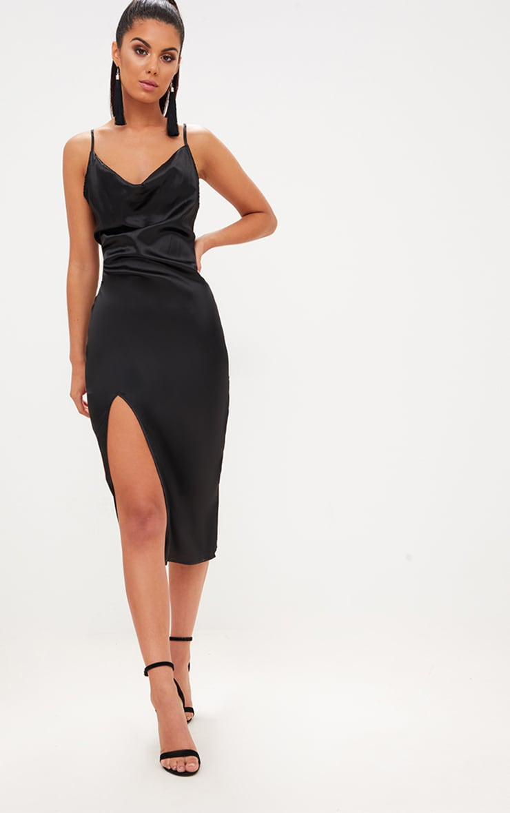 Black Strappy Satin Cowl Neck Midi Dress 1