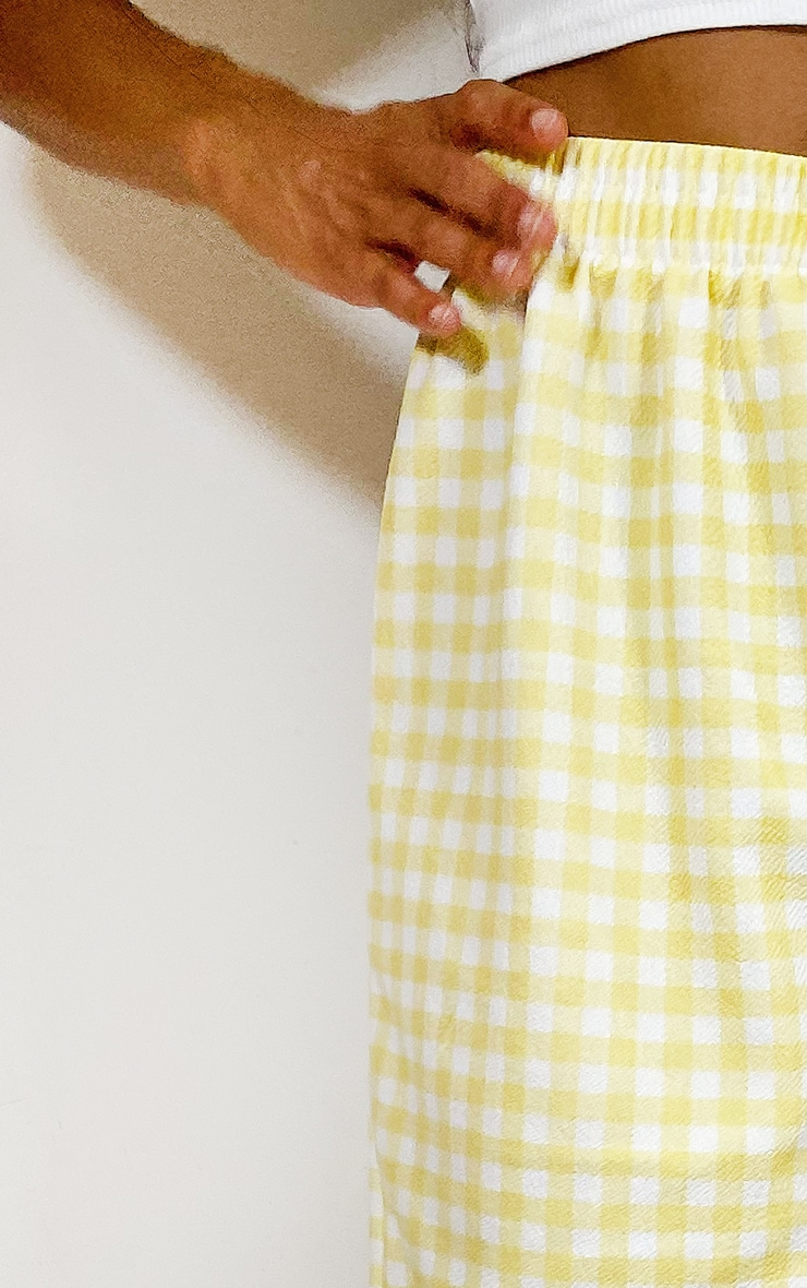 Lemon Gingham Oversized Floaty Shorts 4