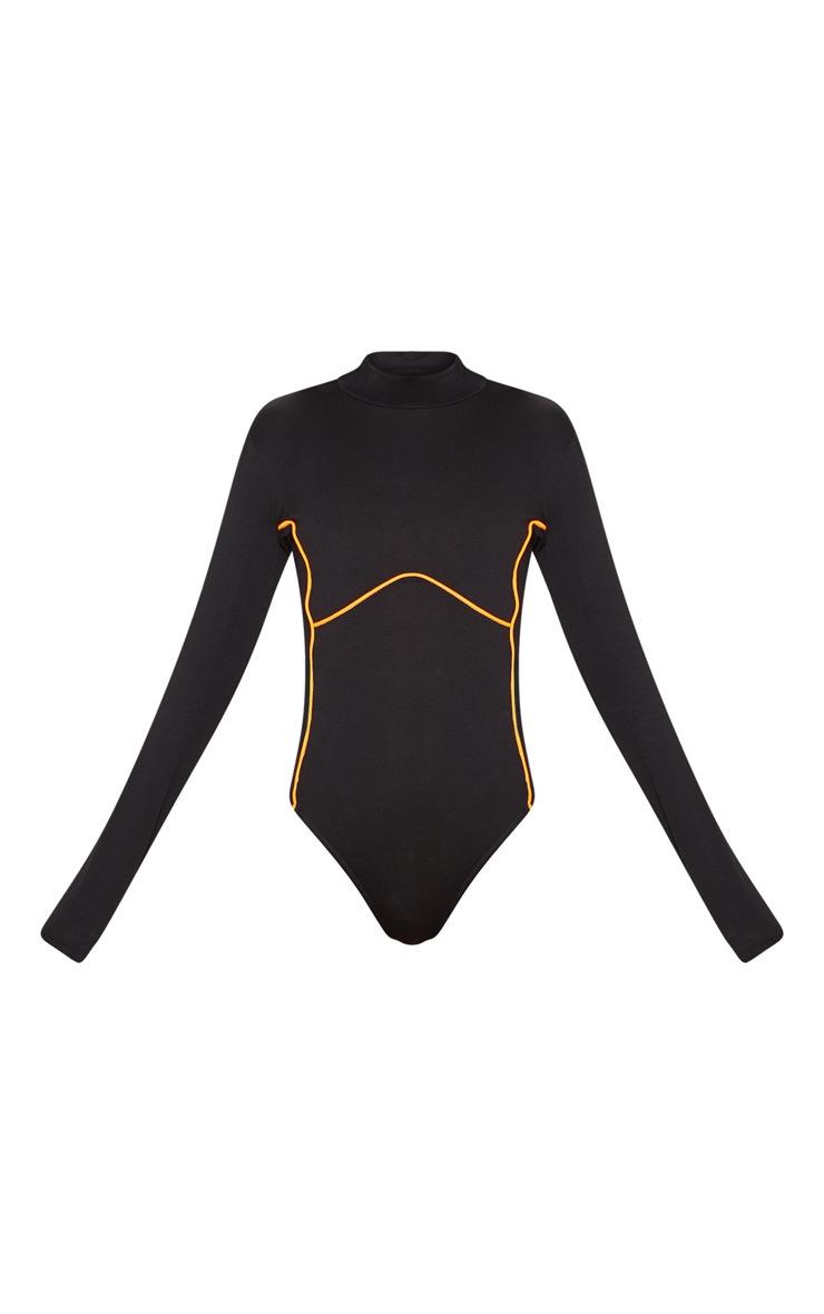 Black Contrast Panel High Neck Long Sleeve Bodysuit 3