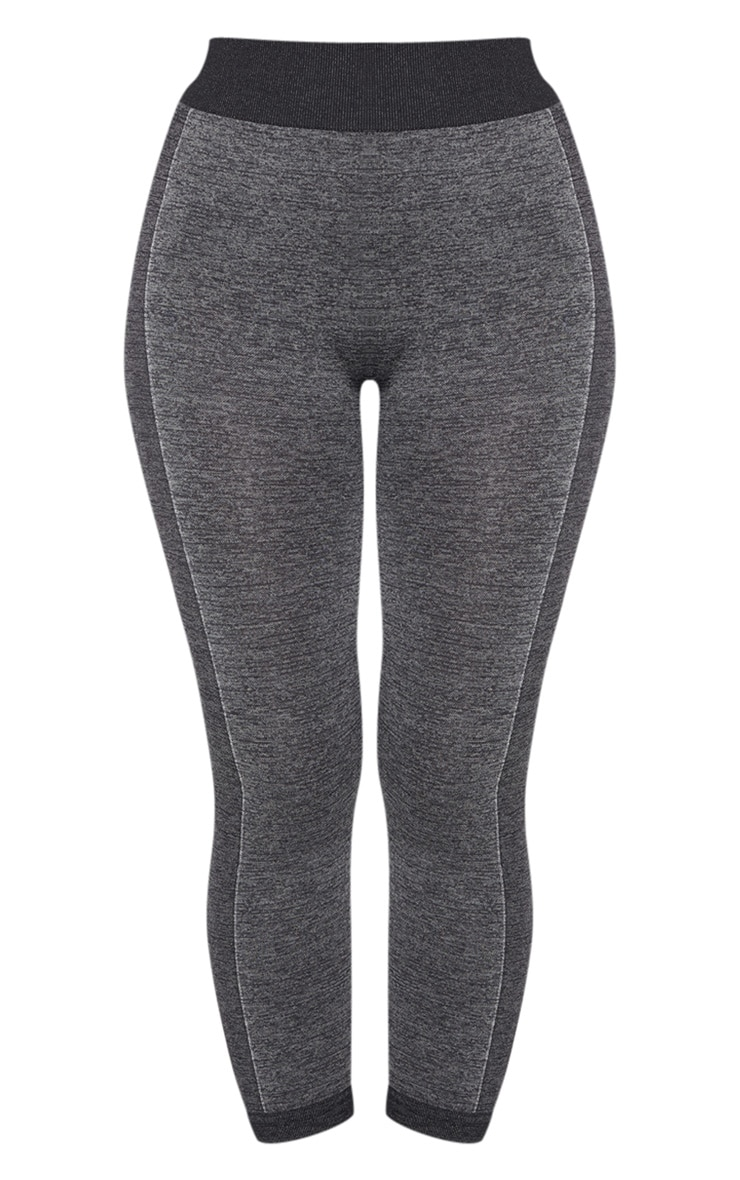 Dark Grey Seamless Contrast Panel Cropped Legging 3