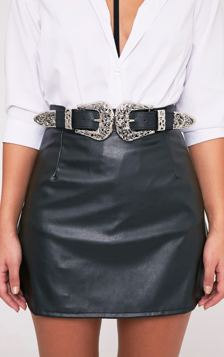 Hermione Silver Ornate Double Buckle Waist Belt 3