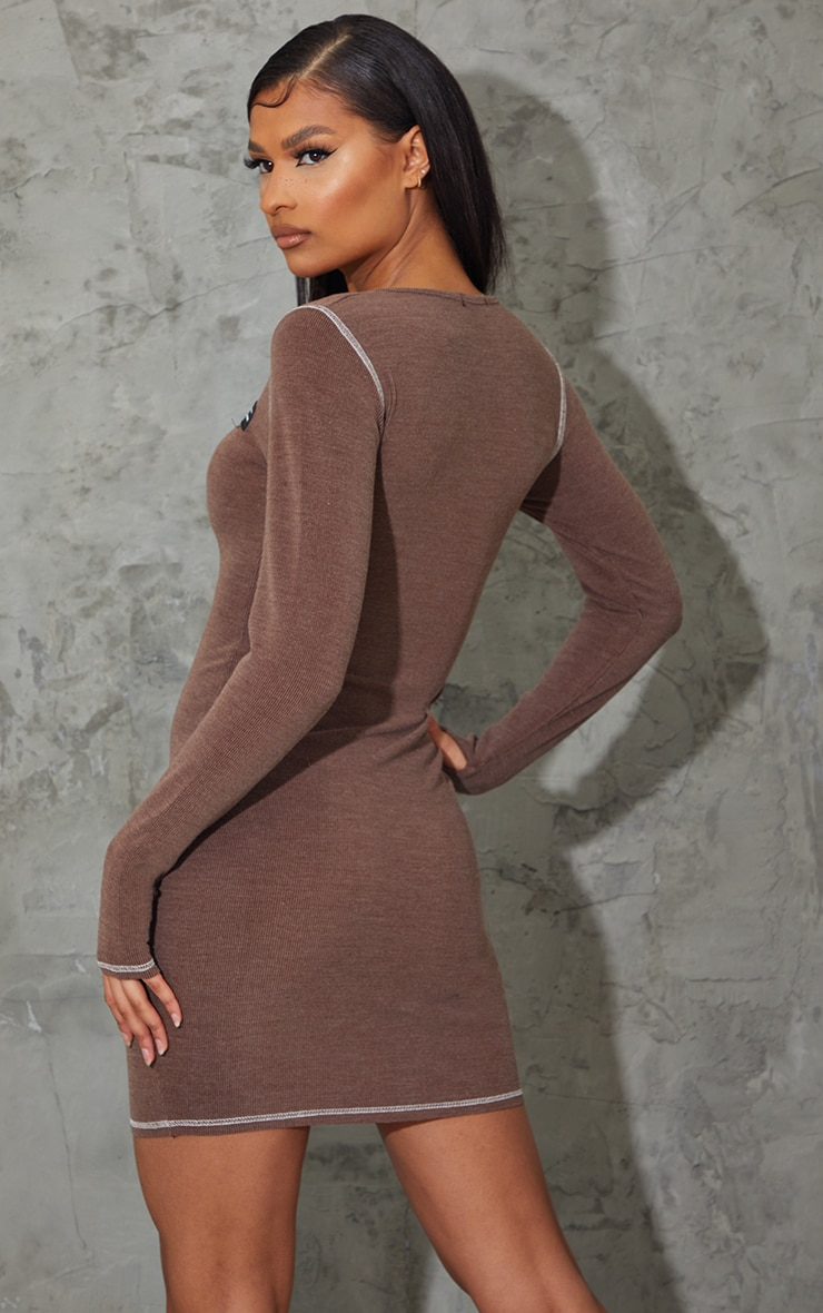 PRETTYLITTLETHING Brown Washed Rib Zip Through Thumb Hole Bodycon Dress 2