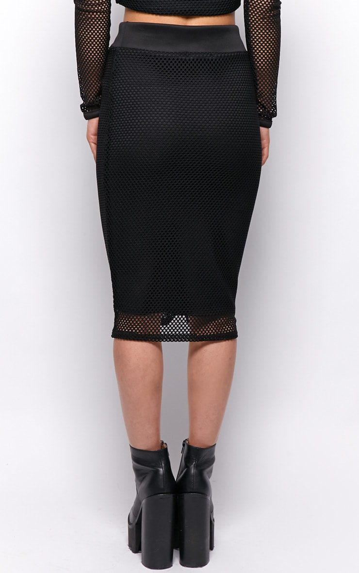 Eleanor Black Fishnet Midi Skirt 2