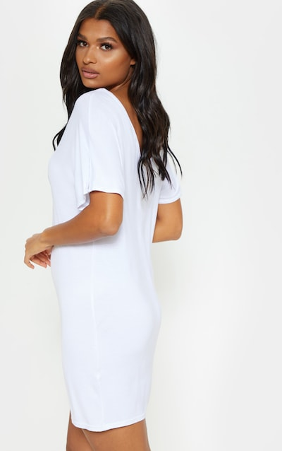 Basic White V Neck T Shirt Dress