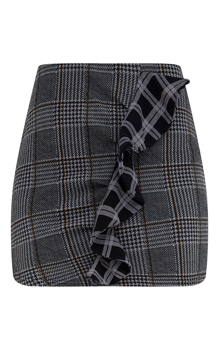 Grey Mix Check Ruffle Mini Skirt 3