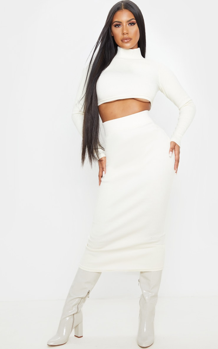 Ecru Structured Rib Midaxi Skirt