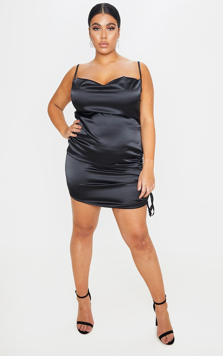 Plus Black Satin Cowl Ruched Side Bodycon Dress 3