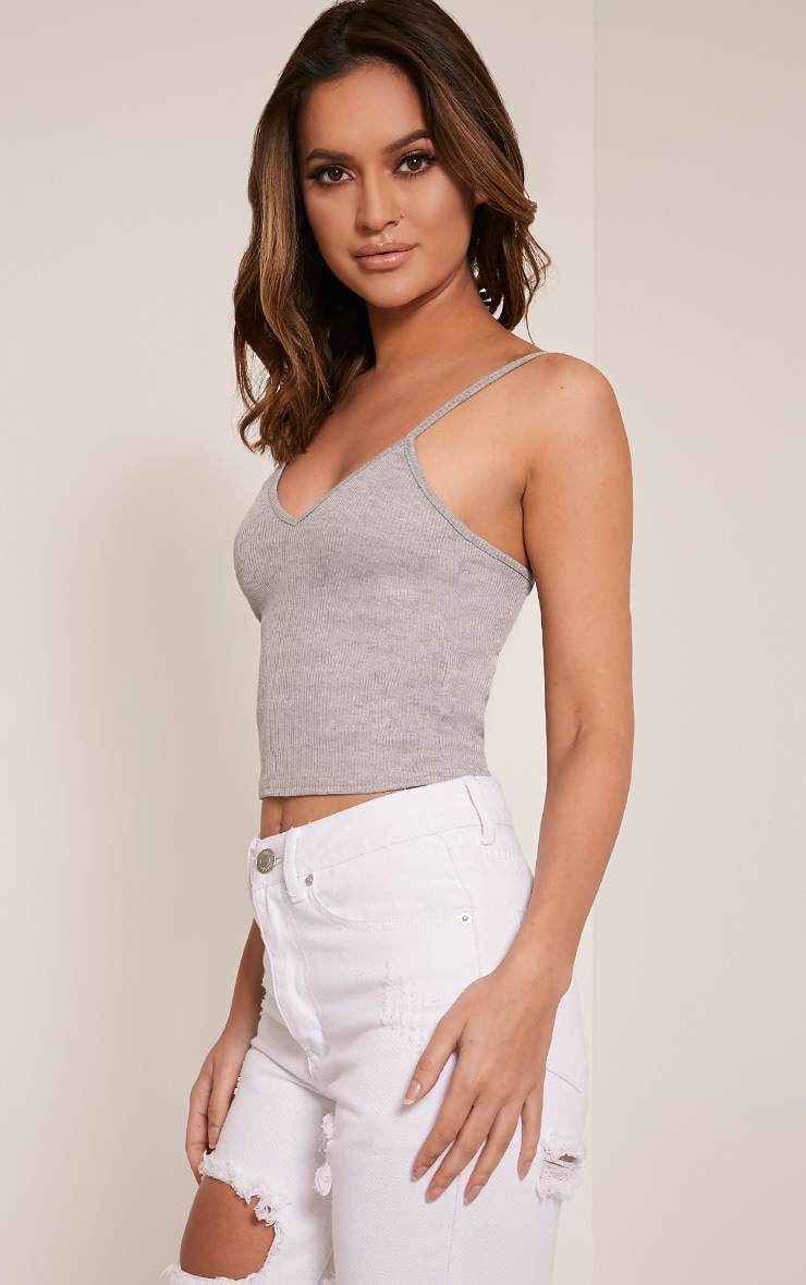 Basic Grey Strap V Neck Vest 4